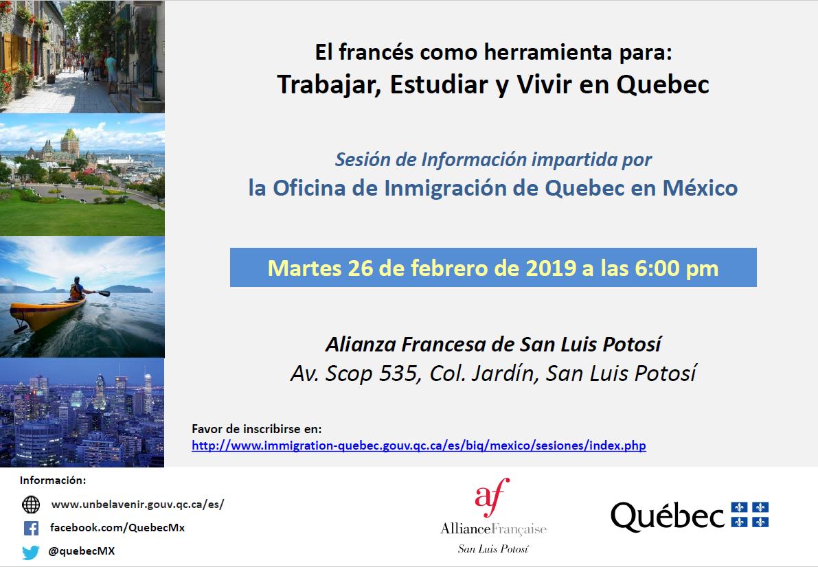 """Sesión informativa impartida """"Inmigración de Quebec en México"""""""
